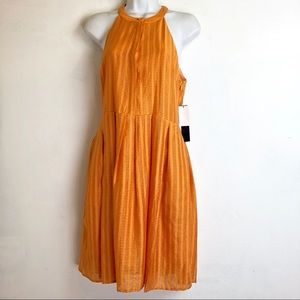 Cynthia Steffe Orange Sleeveless Pleated Dress 6